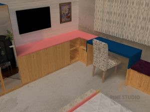 Mr Davis Daughters room, pine wood wardrobe, cupboards, study table, chest of drawers