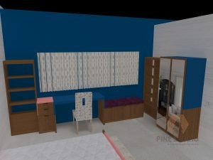 Mr Davis Daughters room, pine wood wardrobe, cupboards, study table, chest of drawers, Blue Wall, Pink Wall