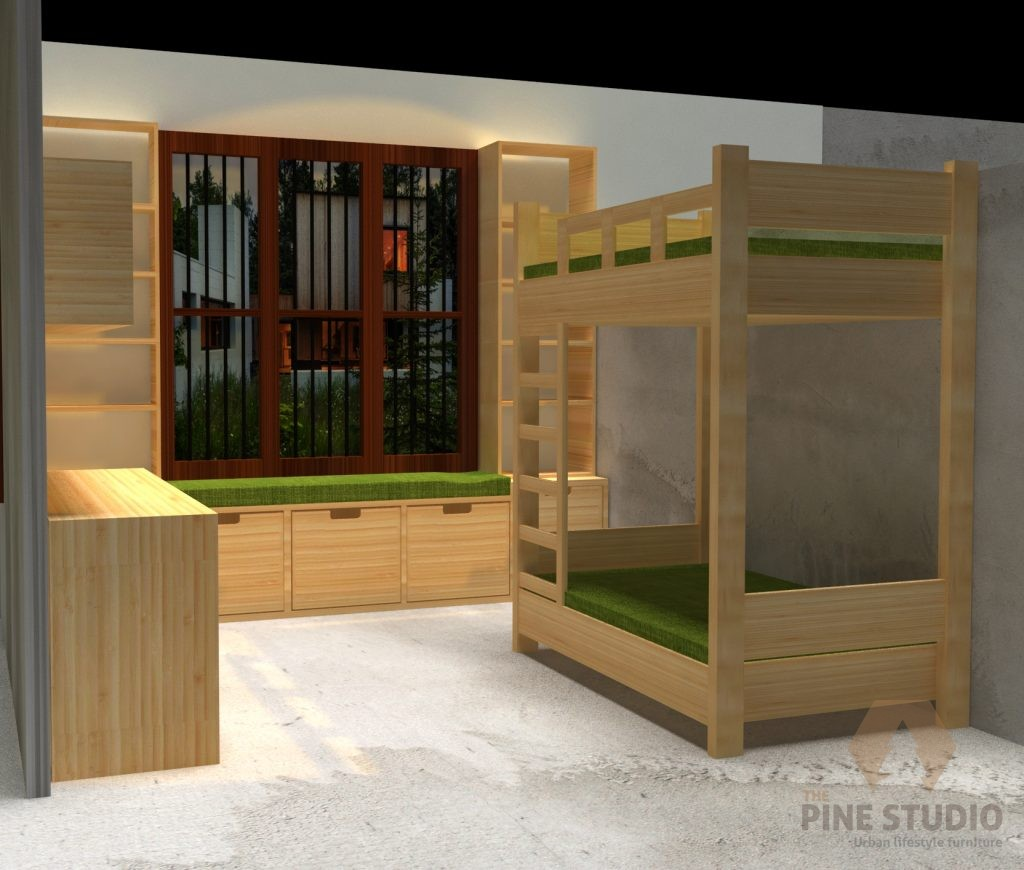 Cupboard, Floating Table, Bed, Pinewood