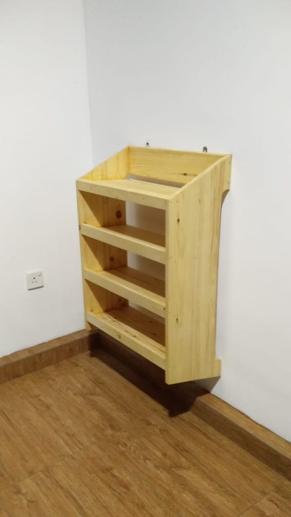 Pinewood Shoe rack, custom designed, custom made, the pine studio, specialist in custom designed furniture making