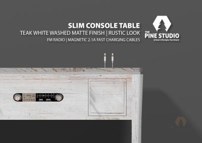 Console table with radio and magnetic Fast charging cable inbuilt, may be with Bluetooth embedded