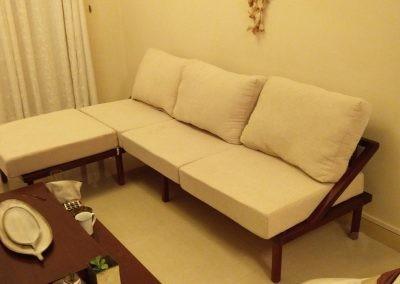 L shaped Pinewood Sofa