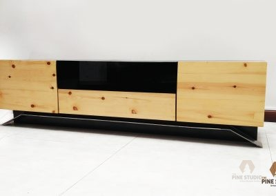 Media Unit, TV Console table made out of Pinewood and stainless steel
