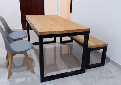 Dining table & Bench made out of Duglas Fir wood and plastic powder coated Framework