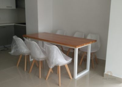 Elegant White Duglas Fir Dining Table