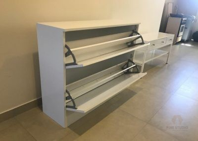 White Shoe Rack/Cabinet Made out of MDF and Pine Wood by the pine studio Sri Lanka. custom furniture makers