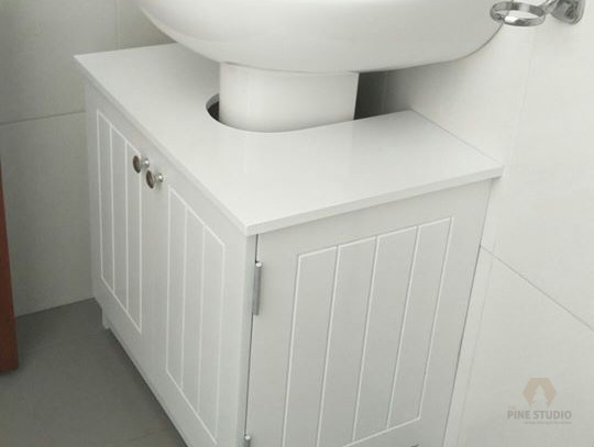 White elegant, Washable Vanity Cupboard and a mirror frame