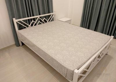 Metal Bed, Bed Side Cupboard