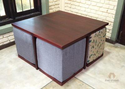 Mahogani Coffee Table with Stools