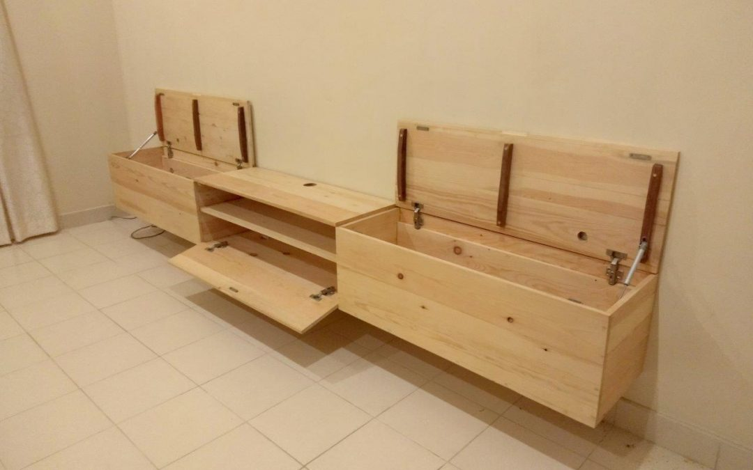 10 ft Long TV Console Made out of Pinewood, Wall mounted. custom furniture designers sri lanka