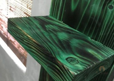 Rustic Bathroom Rack, using Transparent Bike Paint, shou sugi ban on Pinewood