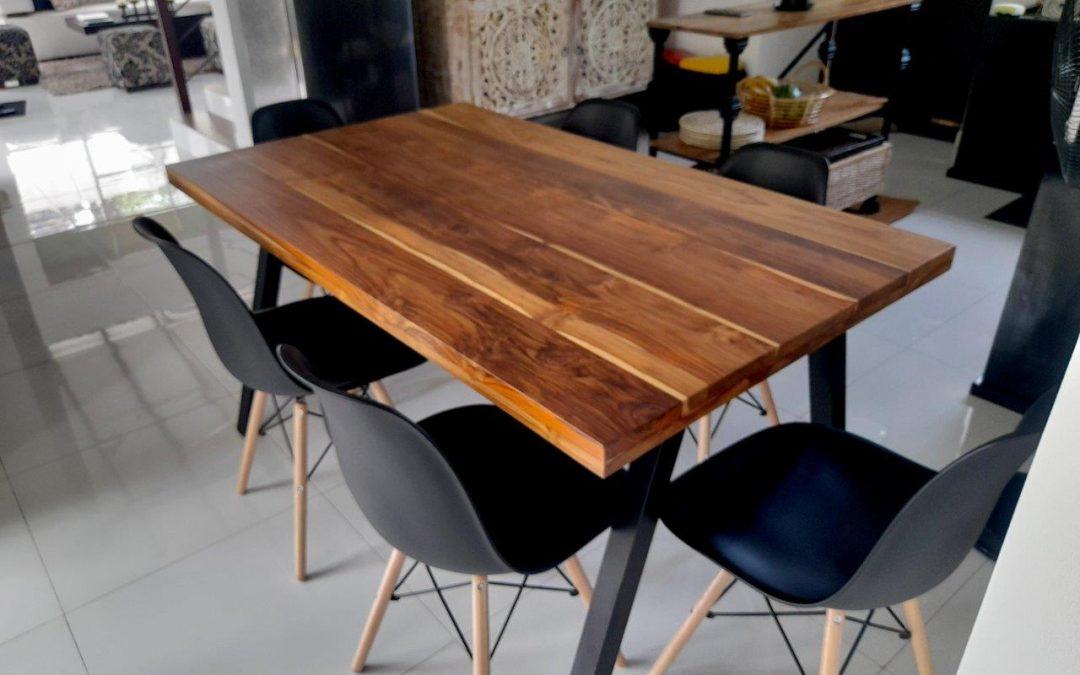 Teak top Dining Table + Powder-coated Metal framework