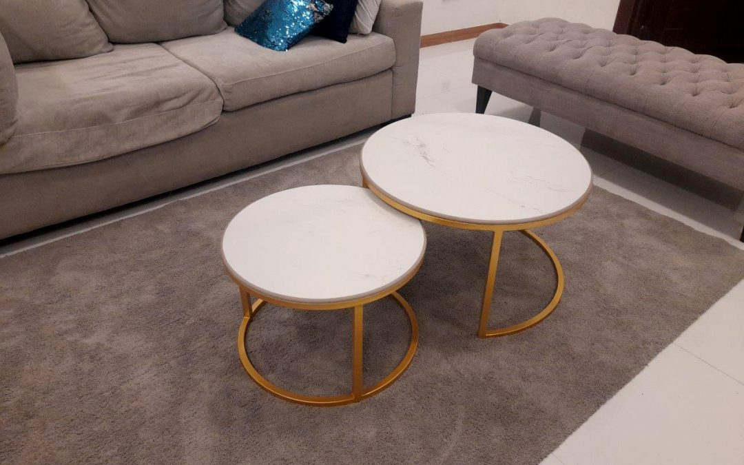 Marble/Tile top Coffee Table, with the Metal framework, Gold colour coffee table
