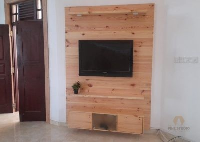Wall-mounted TV STAND/MEDIA CONSOLE made out of Pinewood
