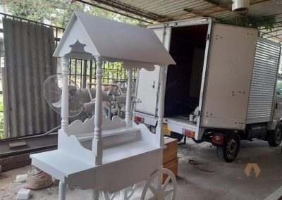 Candy Cart, a Sweet candy cart made out of MDF and Mahogany. renting of party props, colombo, sri lanka