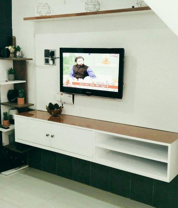 Wall Mounted TV Media Console, Melamine, MDF, White Furniture
