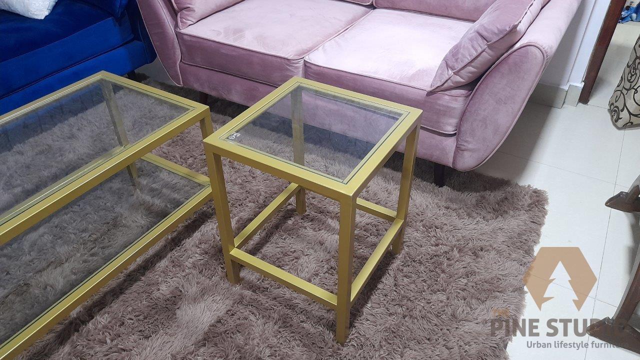 Coffee Table, Metal Coffee table, Temphered gass top coffee table, gold powder coated coffee table made in sri lanka (1)