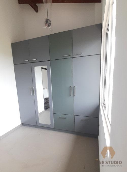 Wardrobe, Closet, gray almeira, cupboard, wall mounted cupboard, made in sri lanka, custom made, fiber board, colour wardrobe (8)