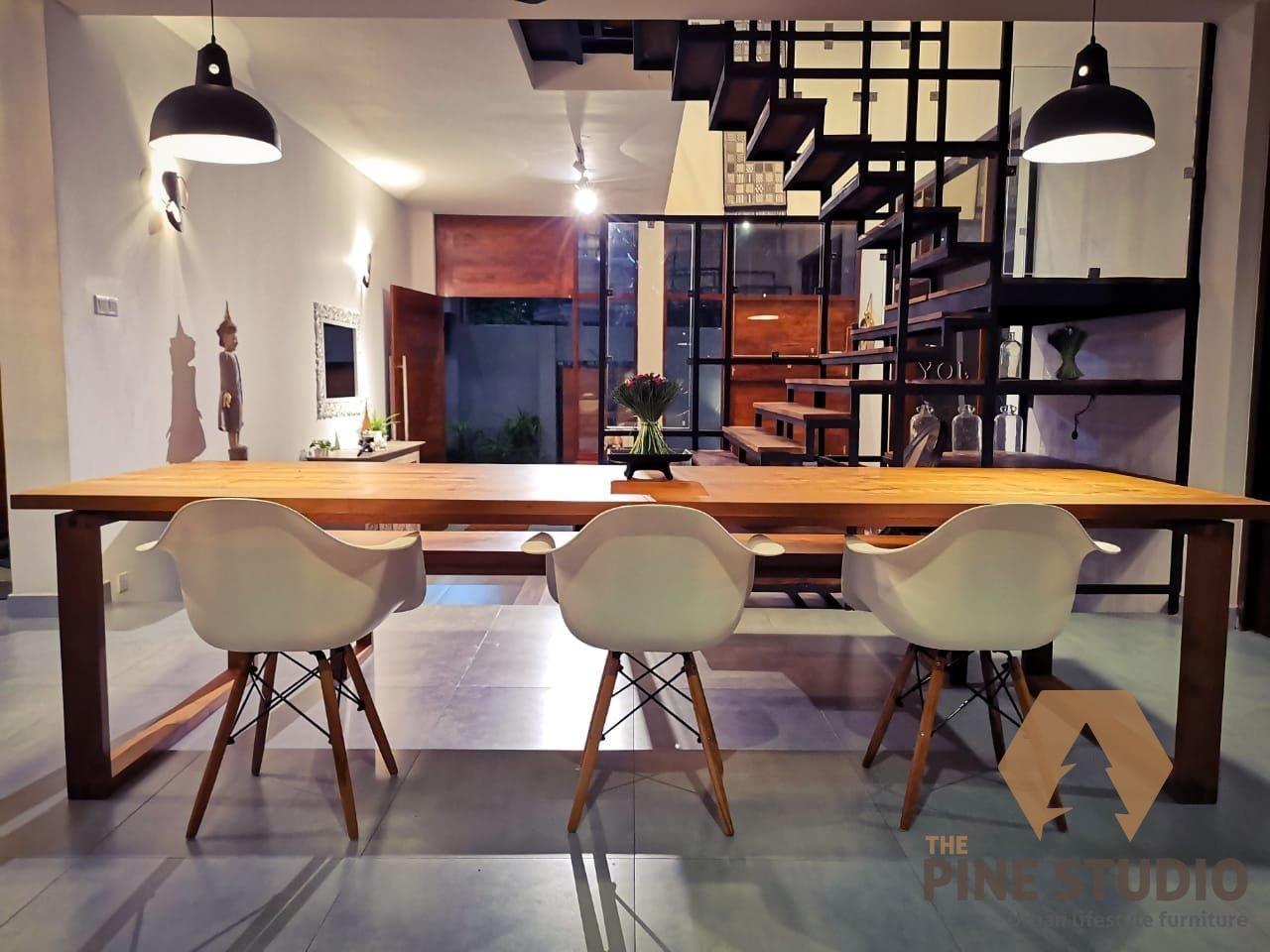 Teak Dining Table, Modern Dining table design in sri lanka, Kaththamalli, perfect joint bench, divan