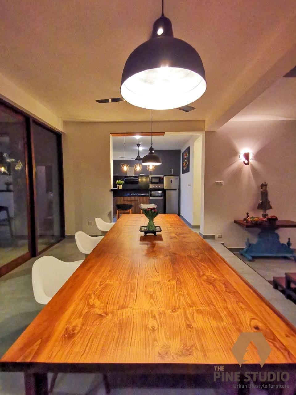 Teak Dining Table, Modern Dining table design in sri lanka