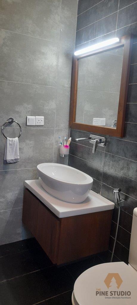 Teak vanity cupboard, bathroom cupboard, bathroom furniture, bathroom mirror, bathroom cupboard, water base finishin