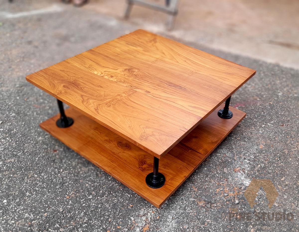 Industrial Coffee table, GI Pipe fitted coffee table, Pewter jointed Coffee table, Teak top coffee table