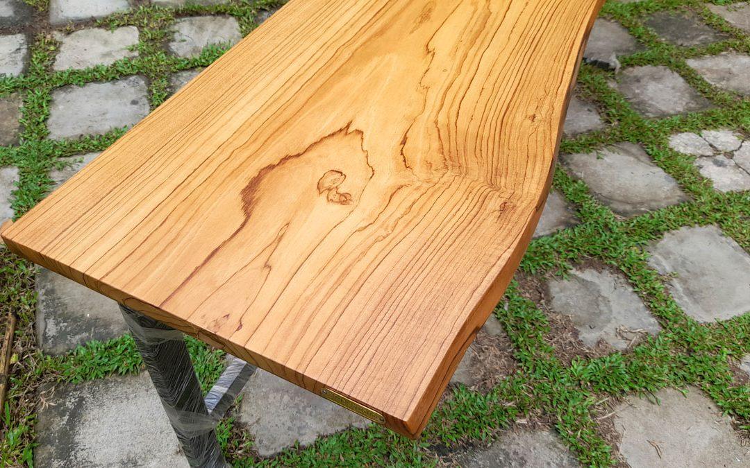 Teak Life edge table, natural curvy edge table with metal framework powder coated, made in sri lanka